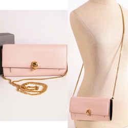 NEW $1090 ALEXANDER MCQUEEN Blush Pink Leather SKULL Wallet on Chain WOC BAG NIB