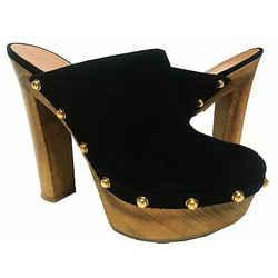 Gucci Suede Studded Joplin Platform Mules Size 35.5 Black
