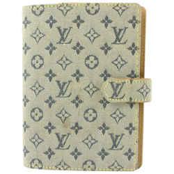 Louis Vuitton Grey x Navy Monogram Mini Lin Small Ring Agenda PM Diary Cover 693l621