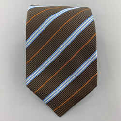 Hermes Brown Blue & Rust Diagonal Stripe Woven Silk Tie 758761 T