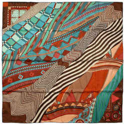 Hermes Brown Turquoise  Coupons Indiens 90 Cm Silk Scarf