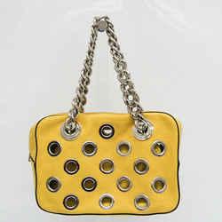 Prada Grommet Chain Women's Leather Shoulder Bag Yellow FVEL000054