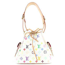 Louis Vuitton White Monogram Multicolor Noe Drawstring Bucket Hobo Bag 530lvs38