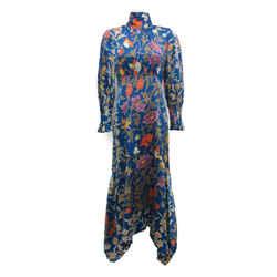 Peter Pilotto Cobalt Floral Mock Neck Tie Midi Dress