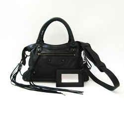 Balenciaga Town 240579 Women's Leather Handbag,Shoulder Bag Black BF533282
