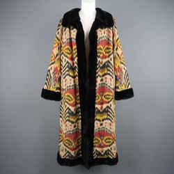 Oscar De La Renta Size L Ikat Print Silk & Embroidered Mink Reversible Coat