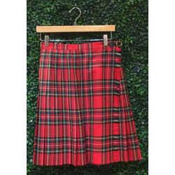Escada Size 38/8 Red Plaid Skirts