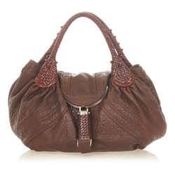 Vintage Authentic Fendi Brown Dark Brown Calf Leather Spy Handbag Italy