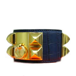 Hermes Blue Indigo Alligator Collier De Chien Bracelet