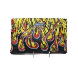 Prada Banana and Flames Print Leather Clutch