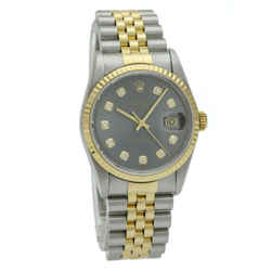 Rolex Datejust 36mm Two-Tone Watch with Charcoal Diamond Dial 16233