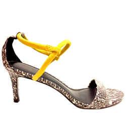 Sandro Paris Black/ivory Python Skin Yellow Suede Ankle-strap Heel Sandals