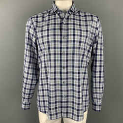 ERMENEGILDO ZEGNA Size XL Navy & White Plaid Cotton Long Sleeve Shirt