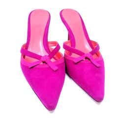 Judith Leiber Raspberry Kitten Heel Suede Slip On Shoes