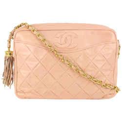 Chanel Pink Quilted Lambskin Fringe Tassel Camera Bag 521cas610