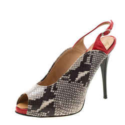 Giuseppe Zanotti Beige Python Embossed Leather Peep Toe Slingback Sandals Siz...