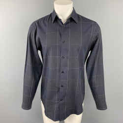 THEORY Size S Black Grid Cotton Button Up Long Sleeve Shirt