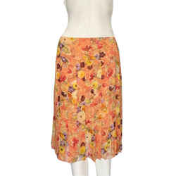Chanel Floral Patterned Multicolor Silk Pleated Midi Skirt Sz 8/fr 40
