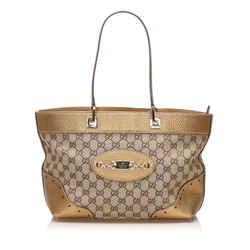 Tan Gucci GG Canvas Punch Tote Bag