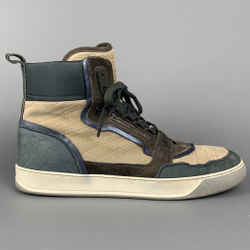 LANVIN Size 10 Grey & Blue Color Block Suede High Top Sneakers