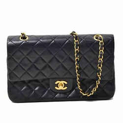 Auth Chanel Lamb Matrasse W / Flap Chain Shoulder Bag Gold Hardware Black Leathe