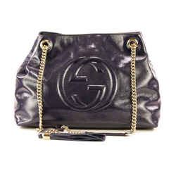 Gucci Blue Navy Patent Leather Soho Boho Chain Shoulder Bag / Crossbody