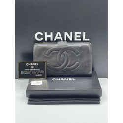 Chanel Caviar Skin Leather Long Bifold CC Logo Coco Vintage Wallet Clutch 7L x 4H