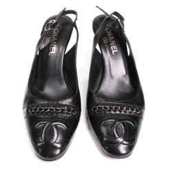 Chanel - Chain Cc Cap Toe Heels - Black Leather Logo Slingback - Us 8.5 - 39