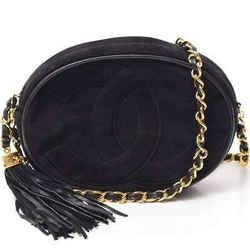 Auth Chanel Suede Coco Mark Fringe Chain Shoulder Black Leather Bag