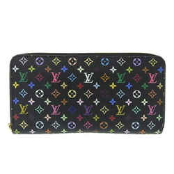 Auth Louis Vuitton Multi-zippy Wallet Long Black Noir M60050 Leather