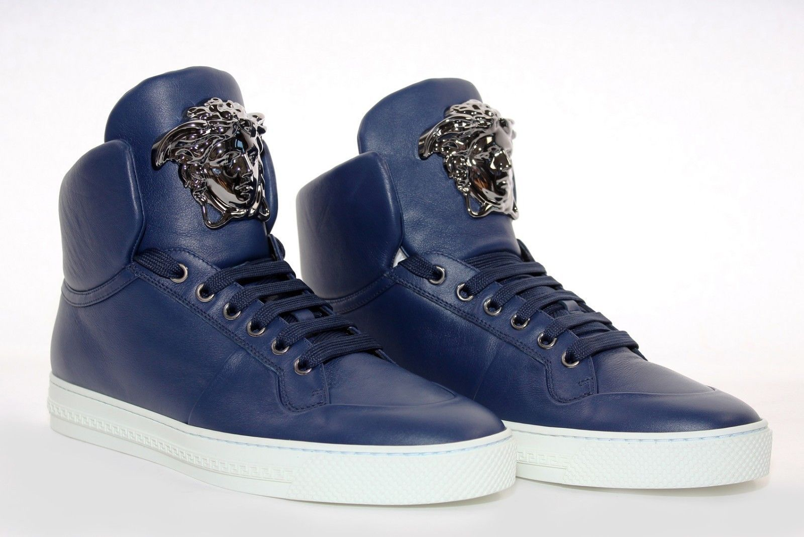 New Versace Blue Leather Palazzo High