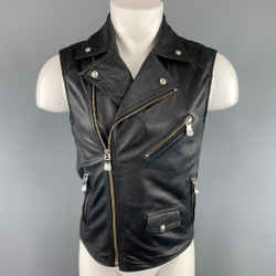 Versus By Versace Size Xs Black Leather Lion Head Biker Vest