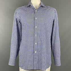 TOM FORD Size XL Blue & White Checkered Cotton Button Up Long Sleeve Shirt