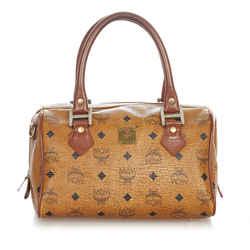 Brown MCM Visetos Leather Boston Bag