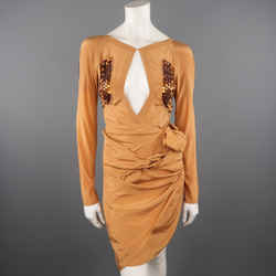 Gucci Size 4 Tan Ss05 Jeweled Bust Cutout Draped Long Sleeve Cocktail Dress