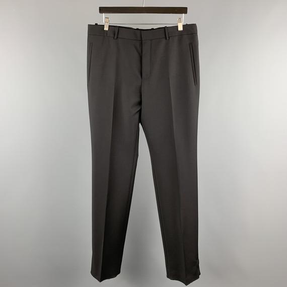 Alexander Mcqueen Size 34 Black Solid Wool / Mohair Button Fly Dress Pants