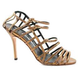 Manolo Blahnik - Stiletto Cage High Heels - Metallic Bronze Strap  Us 8.5 - 38.5