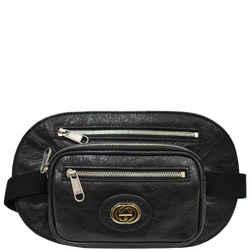 GUCCI  Morpheus GG Interlocking Logo Leather Belt Bag Black 575857