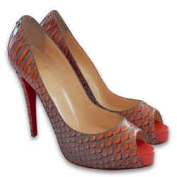 New $1520 Christian Louboutin Very Prive Python Pumps- Mandarin/red - Size 40