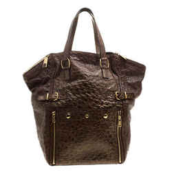 Saint Laurent Brown/Gold Effect Ostrich Large Downtown Tote