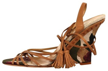 Valentino Floral Print Fabric Leather Strappy Tassle Wedge Sandals