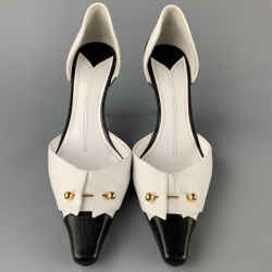 CHANEL Size 10 White & Black Two Toned Leather D'Orsay Pumps