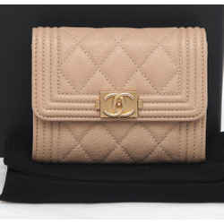 Chanel Beige Caviar Leather Flap Wallet Boy O Coin Compact Purse Card Holder New