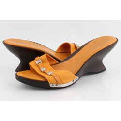 Salvatore Ferragamo Fondente Calf Sandals Orange Sz US-7.5 Authenticity Guaranteed
