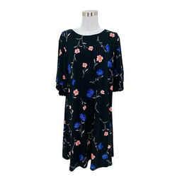 N1098 Lauren Ralph Lauren Designer Dress Size 16 Xl Black Blue Floral A-line