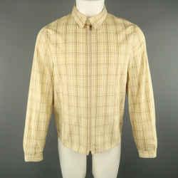 Neil Barrett Size M Khaki Painted Cotton Zip Up Jacket