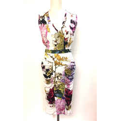 Roberto Cavalli  White/multicolor Floral-print Bodycon Sleeveless Dress Size: It42 / Us 4/6
