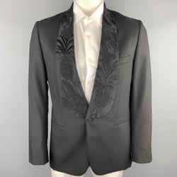 Paul Smith Size 40 Black Embroidery Wool Shawl Collar Sport Coat
