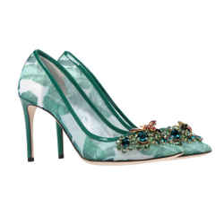 Dolce & Gabbana Banana Leaf Rhinestone Pumps Green 8 Authenticity Guaranteed