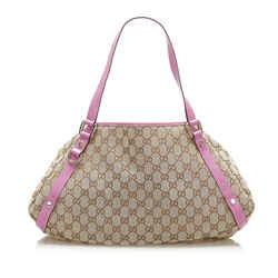 Vintage Authentic Gucci Brown Beige Canvas Fabric GG Pelham Shoulder Bag Italy